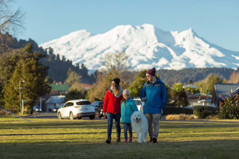 Family walking in Ohakune