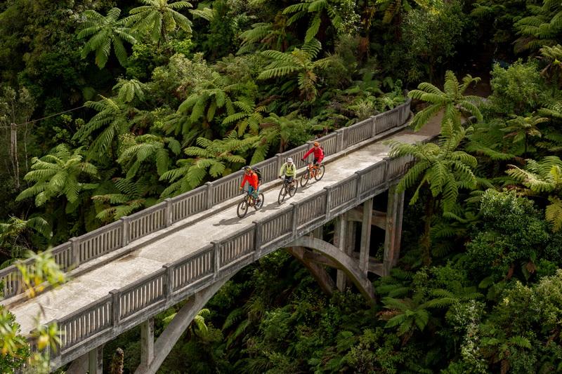 Mountains to Sea cyclists on Bridge to Nowhere