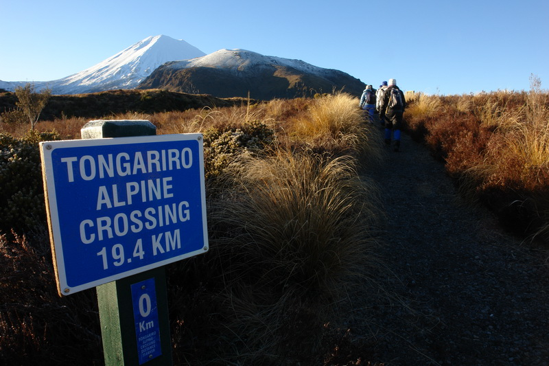 Tongariro Alpine Crossing Sign-Winter